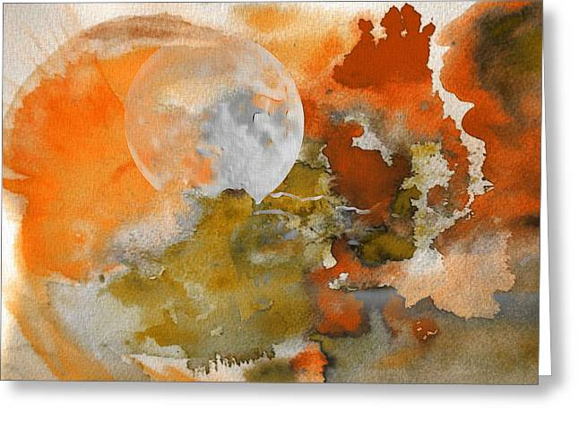 Harvest Moon Greeting Card by Dan Sproul