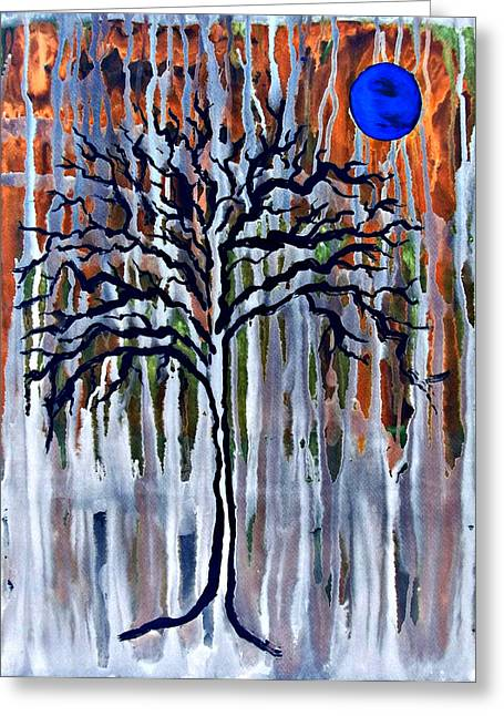 Harvest Moon Mixed Media Greeting Cards - Harvest Moon Drips 2.5 Greeting Card by Catherine McCoy