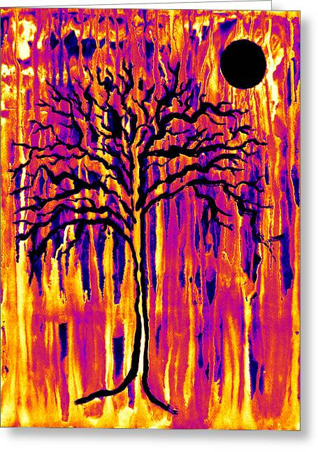 Harvest Moon Mixed Media Greeting Cards - Harvest Moon Drips 3.0 Greeting Card by Catherine McCoy