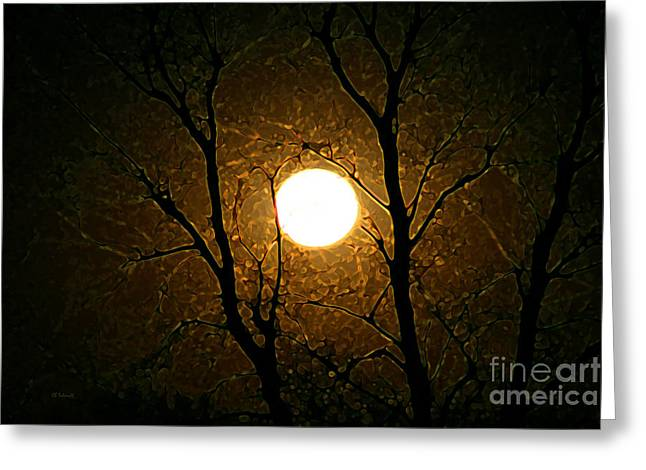 Harvest Moon Mixed Media Greeting Cards - Harvest Moon Greeting Card by E B Schmidt