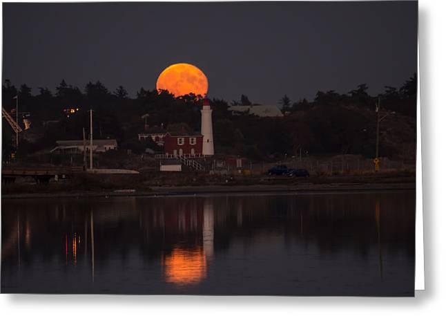 Reflection Harvest Greeting Cards - Harvest Moon Greeting Card by Marilyn Wilson