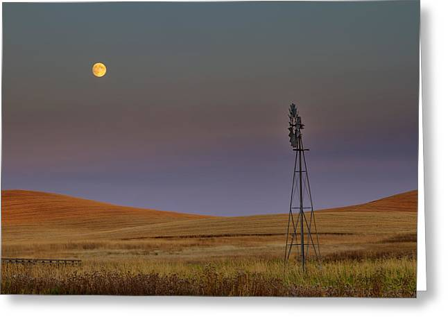 Spokane Greeting Cards - Harvest Moon Greeting Card by Mark Kiver