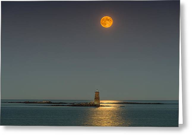 Maine Icons Greeting Cards - Harvest Moon Greeting Card by Matthew Milone