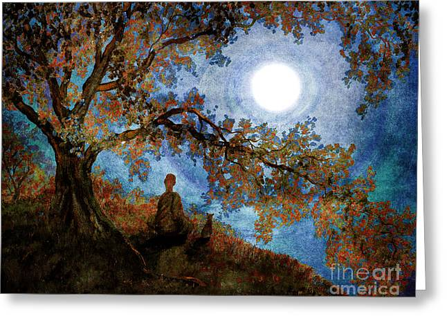 Buddhist Monks Greeting Cards - Harvest Moon Meditation Greeting Card by Laura Iverson