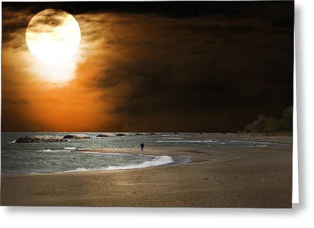 Randall Branham Greeting Cards - Harvest moon on the Beach Greeting Card by Randall Branham