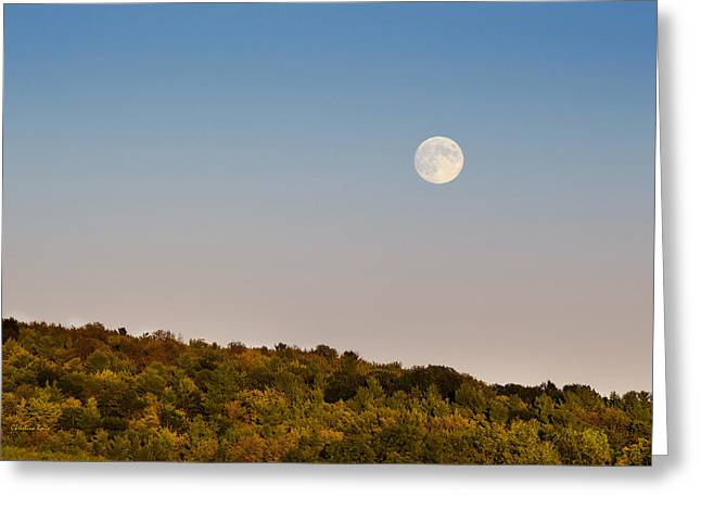 Sunset Greeting Cards Greeting Cards - Harvest Moon Over Country Fields Greeting Card by Christina Rollo