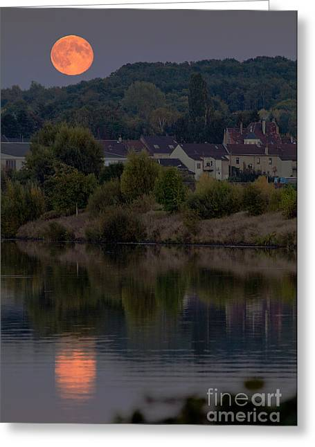 Large Moon Greeting Cards - Harvest Moon Over Germany Greeting Card by Babak Tafreshi