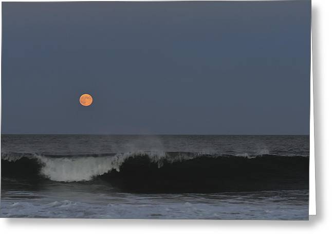 Sea Moon Full Moon Greeting Cards - Harvest Moon Seaside Park NJ Greeting Card by Terry DeLuco