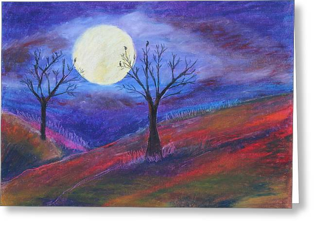 Rural Scene Pastels Greeting Cards - Harvest Moon1 Greeting Card by Jeanne Fischer