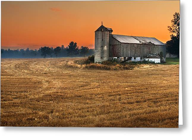 Wheat Field Sunset Print Greeting Cards - Harvest Morning Greeting Card by Garvin Hunter