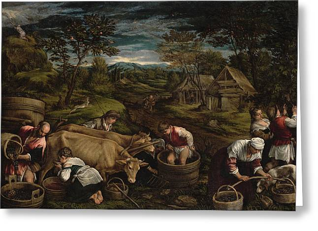 Hare Photographs Greeting Cards - Harvest, Moses Receives The Ten Commandments, 1576 For Detail See 65690 Greeting Card by Jacopo Bassano