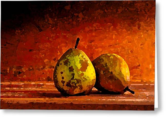 Pear Art Drawings Greeting Cards - Harvest Pairs Greeting Card by Cole Black
