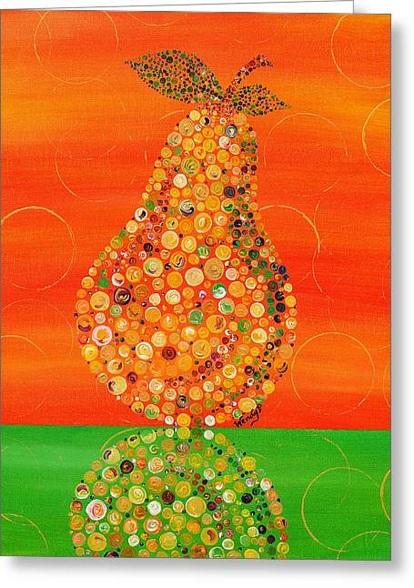 Gold Lime Green Greeting Cards - Harvest Pear Greeting Card by Wendy Provins