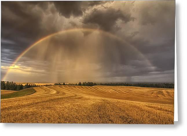 Spokane Greeting Cards - Harvest Rainbow Greeting Card by Mark Kiver