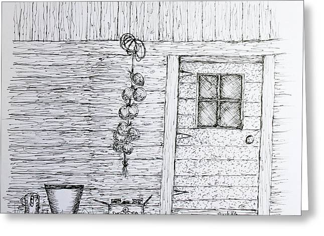 Shed Drawings Greeting Cards - Harvest Shed Greeting Card by Jack G  Brauer