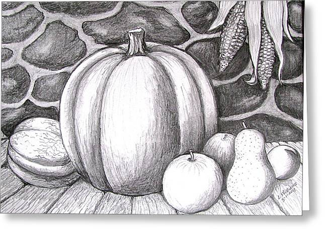 Melon Drawings Greeting Cards - Harvest Still Life Greeting Card by Linda Williams