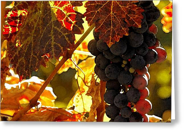 Red Wine Prints Greeting Cards - Harvest Time Greeting Card by Cole Black
