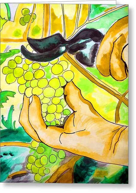 Viticulture Paintings Greeting Cards - Harvest time Greeting Card by Jo Ann