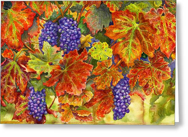 Grape Vines Paintings Greeting Cards - Harvest Time Greeting Card by Karen Wright