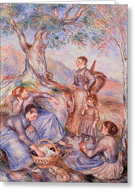 1874 Greeting Cards - Harvesters breakfast Greeting Card by Pierre-Auguste Renoir