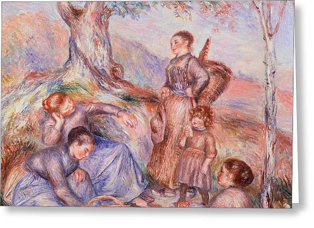 Harvesters breakfast Greeting Card by Pierre-Auguste Renoir