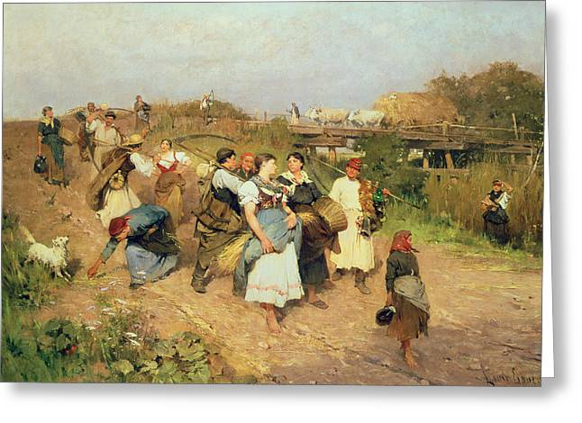 Harvesters On Their Way Home Greeting Card by Lajos Deak Ebner
