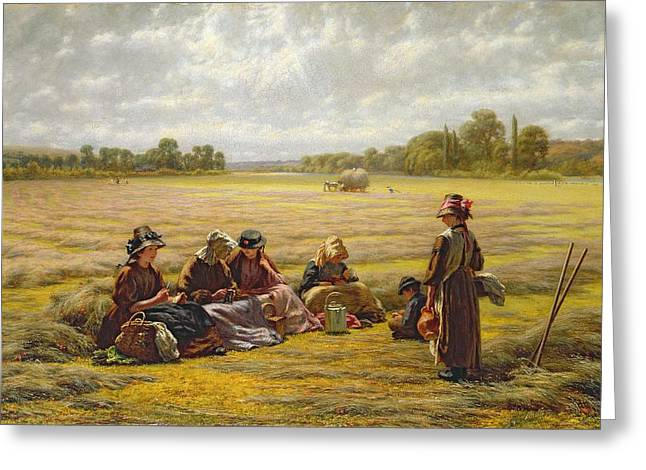 Respite Greeting Cards - Harvesters Resting In The Sun, Berkshire, 1865 Oil On Canvas Greeting Card by Walter Field