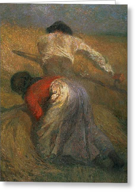 Peasant Greeting Cards - Harvesting Oil On Canvas Greeting Card by Adolphe Joseph Thomas Monticelli