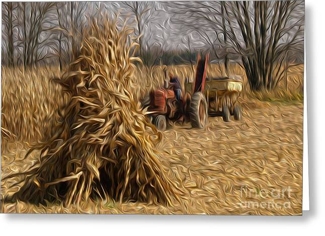 Corn Wagon Greeting Cards - Harvesting the Corn Greeting Card by Brian Mollenkopf