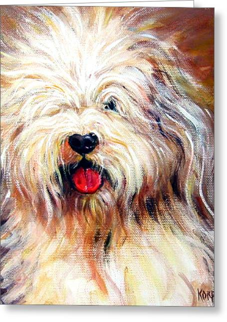Becky Greeting Cards - Harvey the Sheepdog Greeting Card by Rebecca Korpita