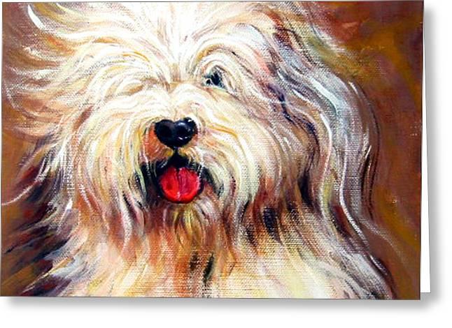 Becky Greeting Cards - Harvey the Sheepdog Greeting Card by Rebecca Korpita