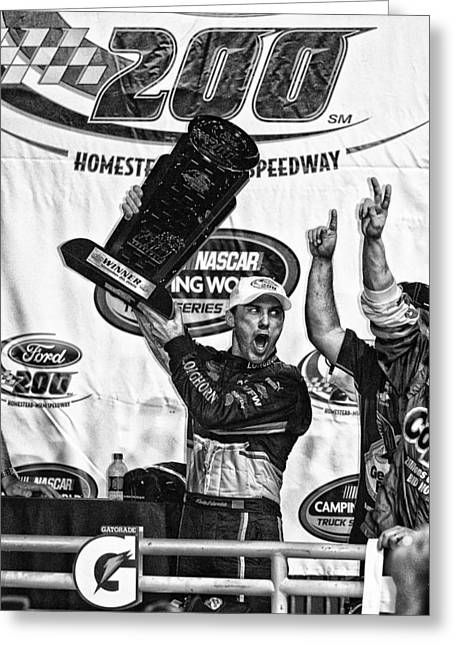 Harvick Wins Trophy  Greeting Card by Kevin Cable
