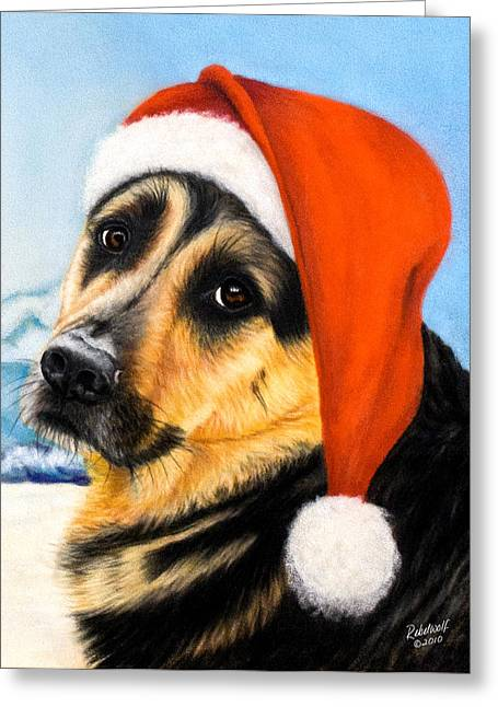 Guard Dog Pastels Greeting Cards - Has He Been Yet Greeting Card by Rebelwolf
