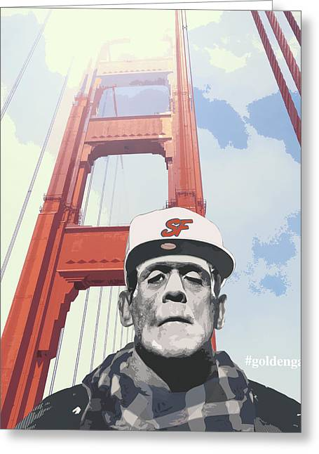 Punk Rock Music Greeting Cards - Hashtag goldengate Frankies selfie Greeting Card by Filippo B