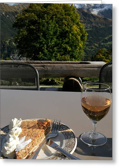 Wine Photography Greeting Cards - Hasli-chochen Pastry And Rose Wine Greeting Card by Panoramic Images