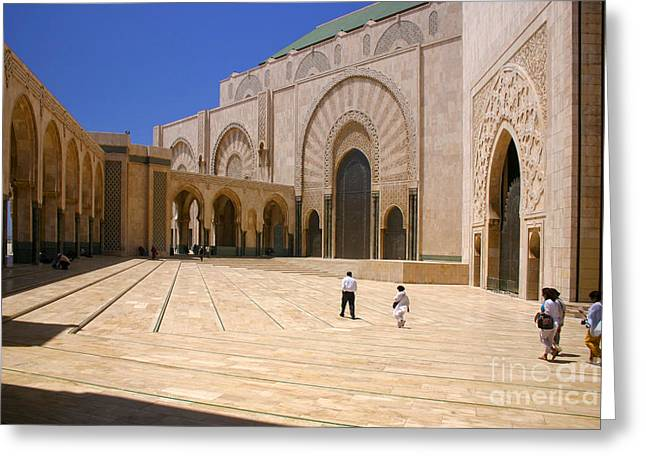 Northern Africa Greeting Cards - Hassan II Mosque Grand Mosque Sour Jdid Casablanca Morocco Greeting Card by Ralph A  Ledergerber-Photography