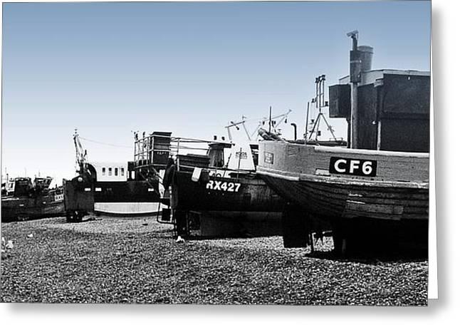 Fishing Trawler Greeting Cards - Hastings Fleet Greeting Card by Sharon Lisa Clarke