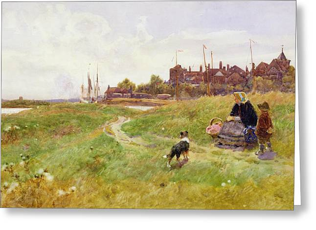 Dog Walking Greeting Cards - Hastings Greeting Card by Thomas James Lloyd