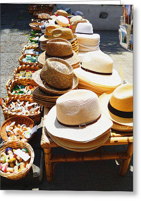 Old Hat Greeting Cards - Hat Market Amalfi Coast Italy  Greeting Card by Irina Sztukowski