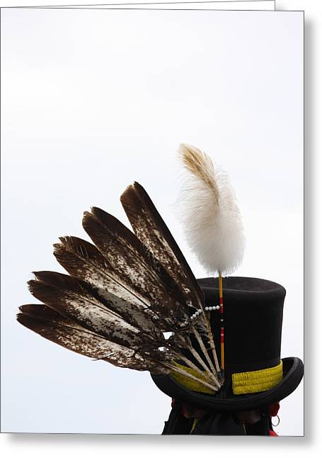 Cree Greeting Cards - Hat of Feathers Greeting Card by Jerry Cordeiro