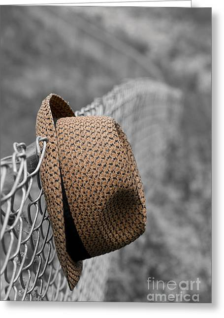 Escaped Greeting Cards - Hat on chain link fence Greeting Card by Edward Fielding