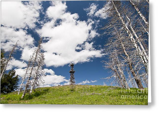 Lookout Tower Greeting Cards - Hat Point Fire Lookout, Oregon Greeting Card by William H. Mullins