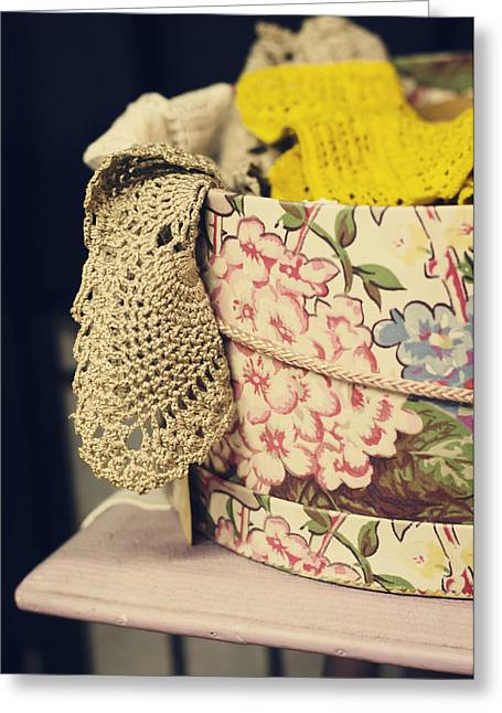 Tat Greeting Cards - Hatbox of Lace Greeting Card by Heather Applegate