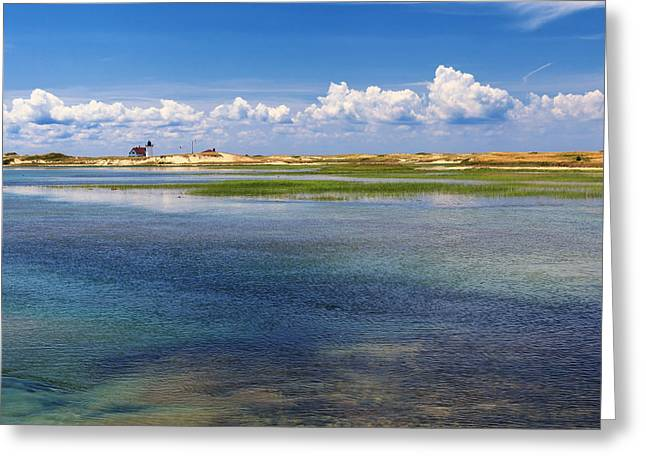 New England Lighthouse Greeting Cards - Hatches Harbor Square Greeting Card by Bill  Wakeley