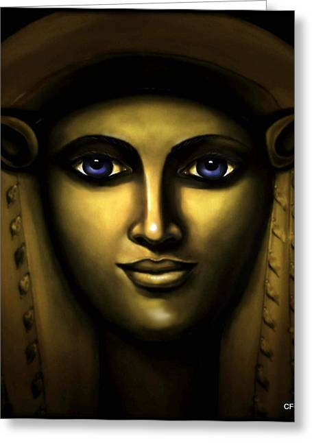 Hathor Greeting Cards - Hathor-Egyptian Goddess Greeting Card by Carmen Cordova