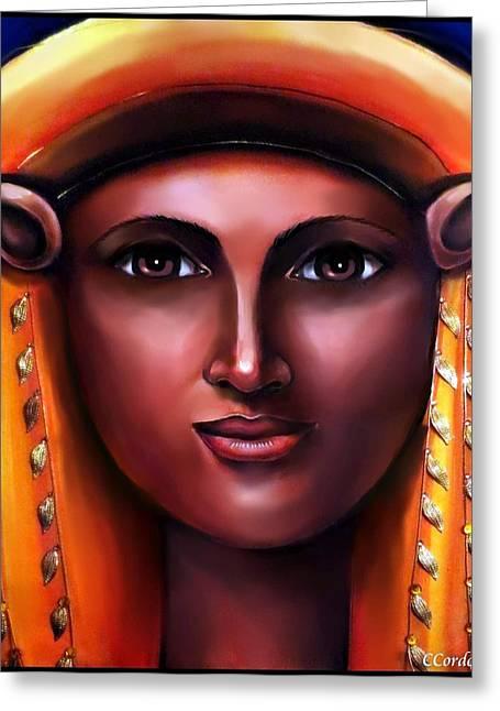 Spiritual Portrait Of Woman Mixed Media Greeting Cards - Hathor- The Goddess Greeting Card by Carmen Cordova