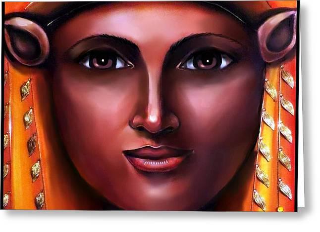 Hathor- The Goddess Greeting Card by Carmen Cordova
