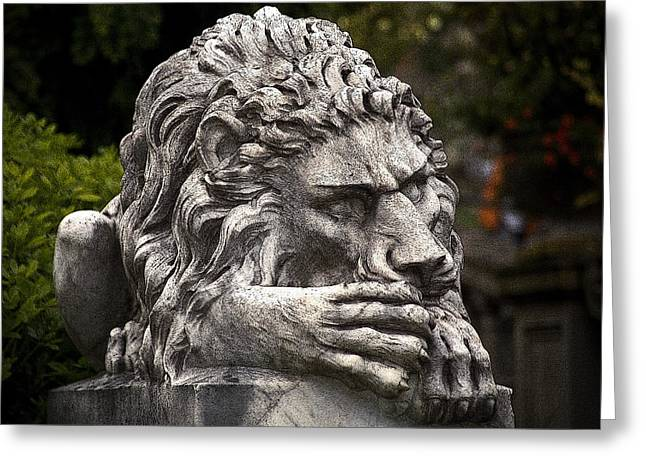 Garden Statuary Greeting Cards - Hatley Castle Lion Greeting Card by Greg Reed