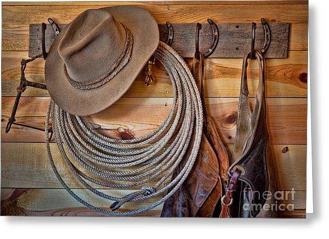 Hats And Chaps Greeting Card by Inge Johnsson