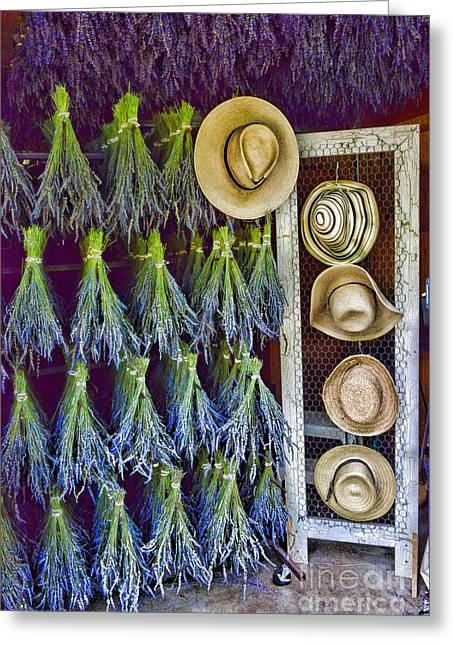 Hats And Lavender Greeting Card by Paul Ward